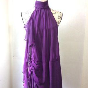 Carmen Marc Valvo Purple Silk Formal Gown sz 2
